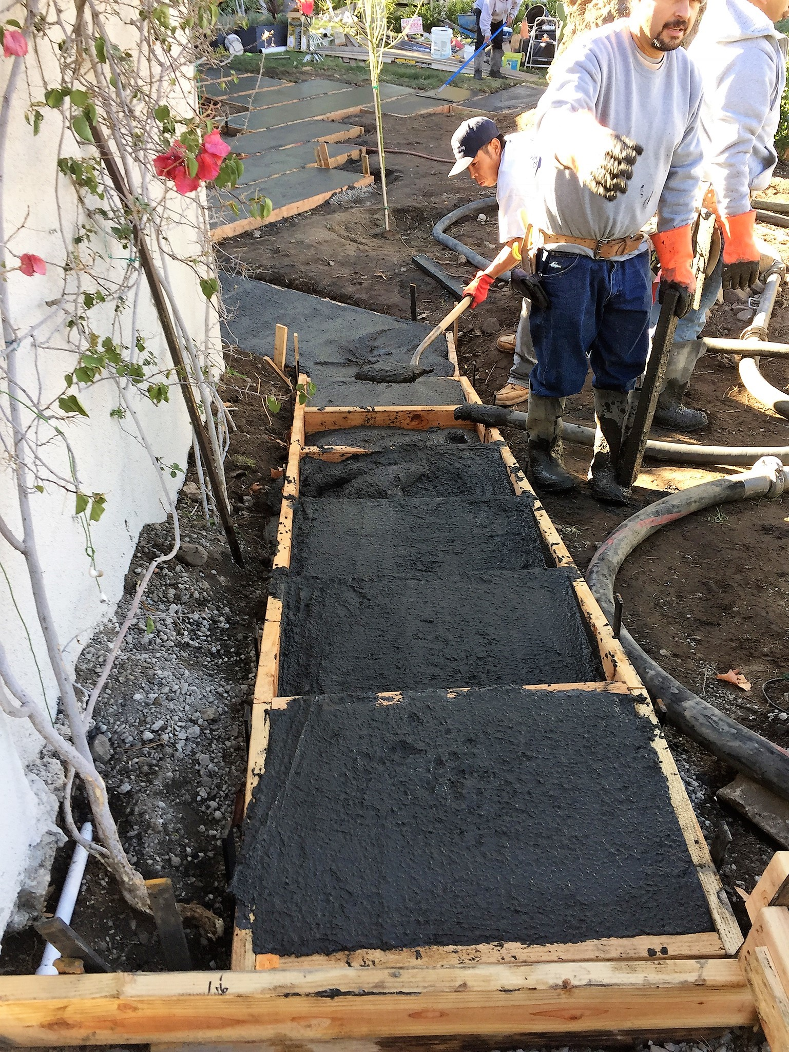 Black cement slab walkway