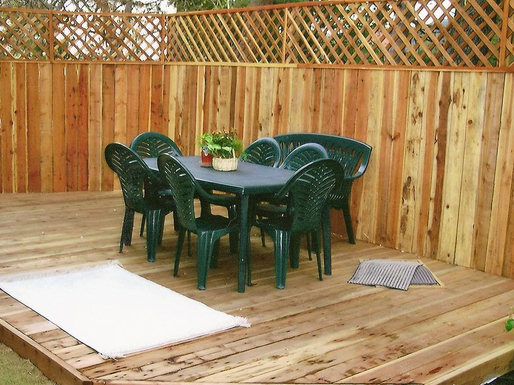 Wood deck, seating and fence