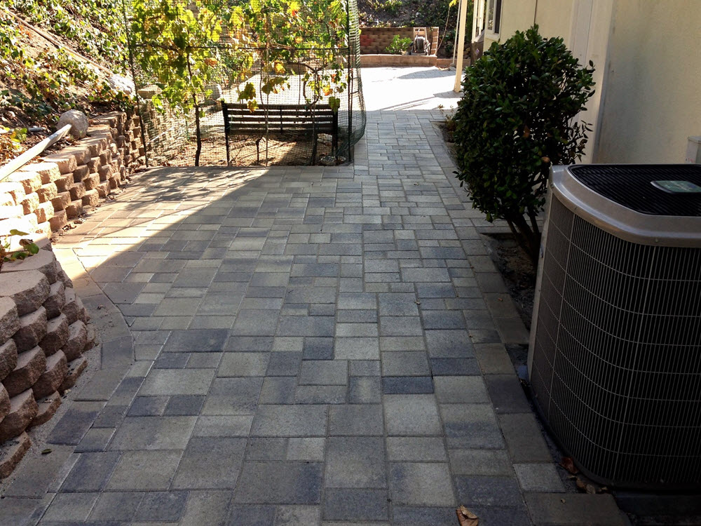 Paver Walkway and retaining wall and seating area