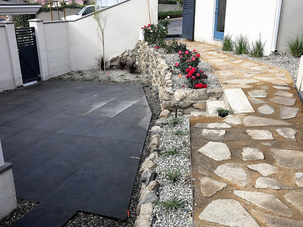 New York St. La Crescenta Backyard Naturals Stone and Cement Patio and walkway