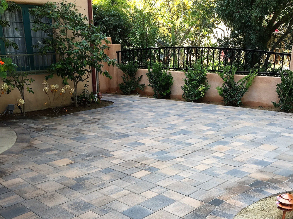Pasadena Project-Ed's Landscaping Paver Patio with wall and iron railing